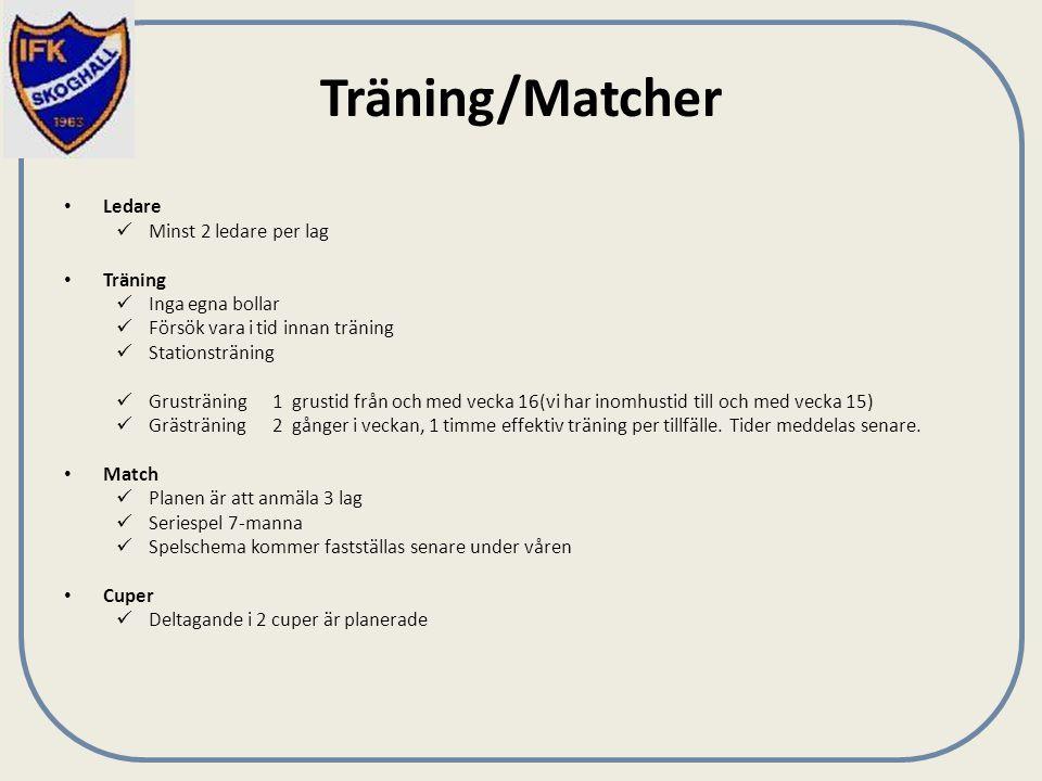 Träning/Matcher Ledare Minst 2 ledare per lag Träning Inga egna bollar Försök vara i tid innan träning Stationsträning Grusträning1 grustid från och med vecka 16(vi har inomhustid till och med vecka 15) Grästräning 2 gånger i veckan, 1 timme effektiv träning per tillfälle.