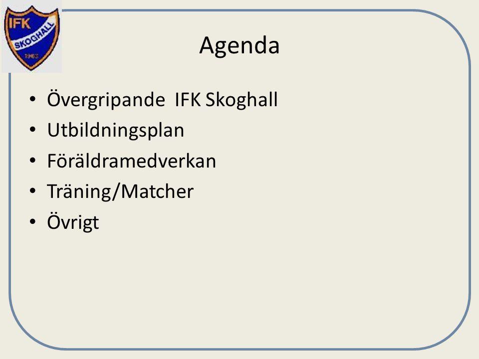 Agenda Övergripande IFK Skoghall Utbildningsplan Föräldramedverkan Träning/Matcher Övrigt