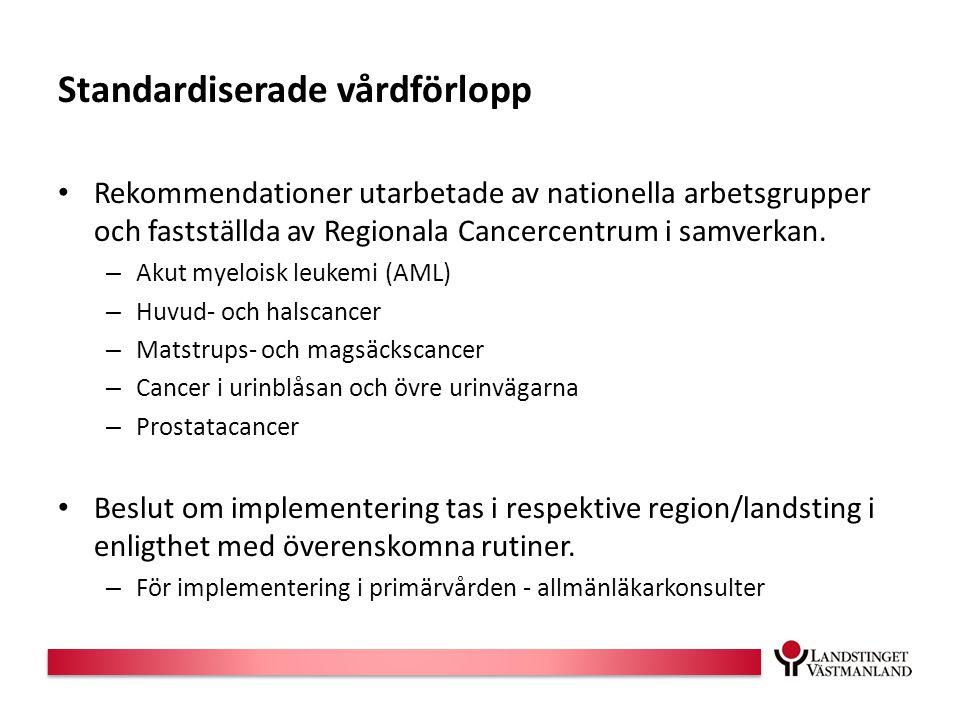 Standardiserade vårdförlopp Rekommendationer utarbetade av nationella arbetsgrupper och fastställda av Regionala Cancercentrum i samverkan.