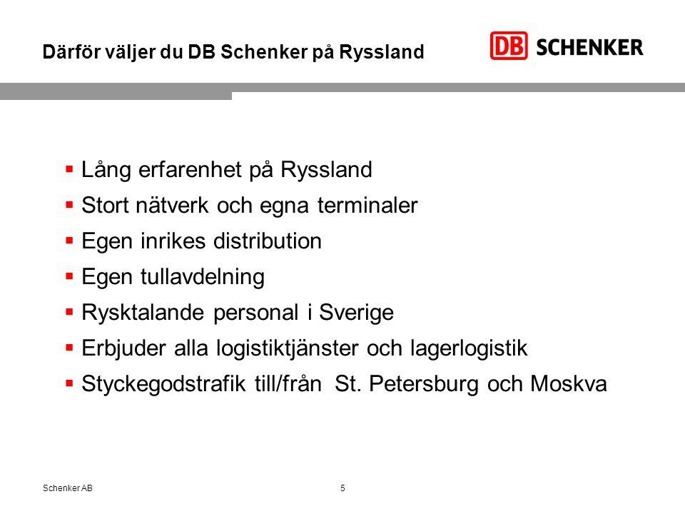 Därför väljer du DB Schenker på Ryssland 5Schenker AB  Lång erfarenhet på Ryssland  Stort nätverk och egna terminaler  Egen inrikes distribution  Egen tullavdelning  Rysktalande personal i Sverige  Erbjuder alla logistiktjänster och lagerlogistik  Styckegodstrafik till/från St.