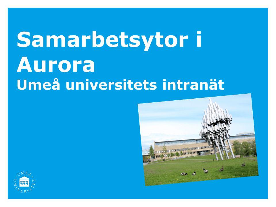 Samarbetsytor i Aurora Umeå universitets intranät