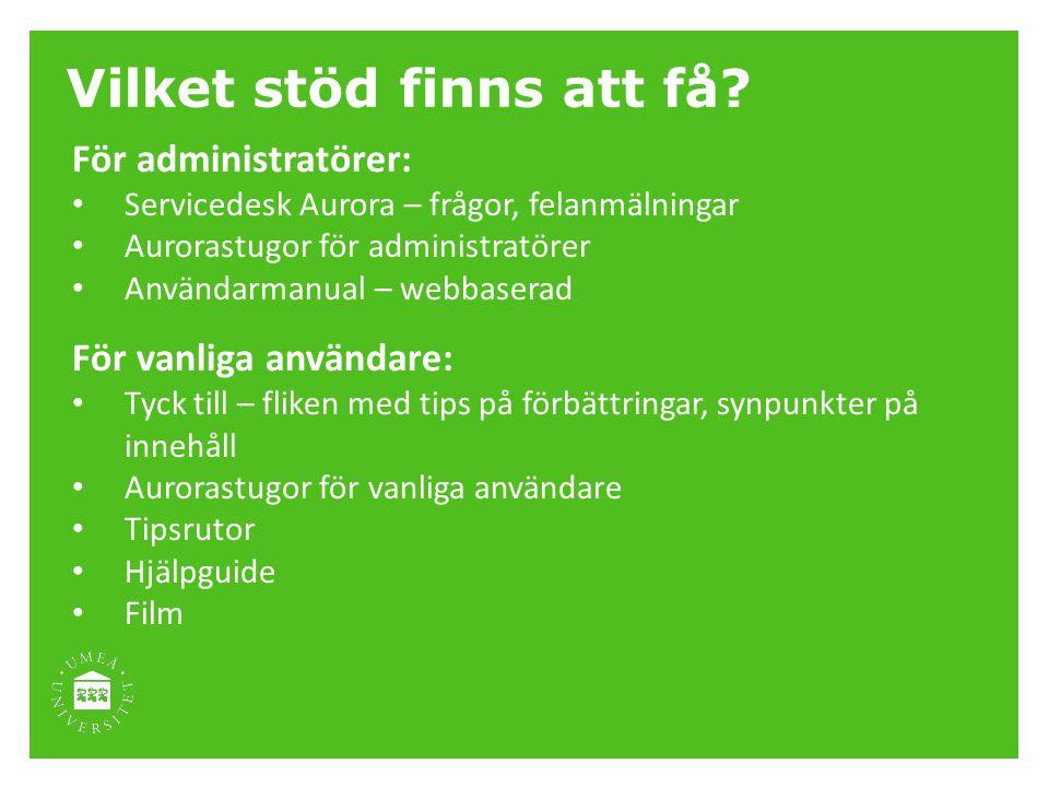 Vilket stöd finns att få? För administratörer: Servicedesk Aurora – frågor, felanmälningar Aurorastugor för administratörer Användarmanual – webbasera