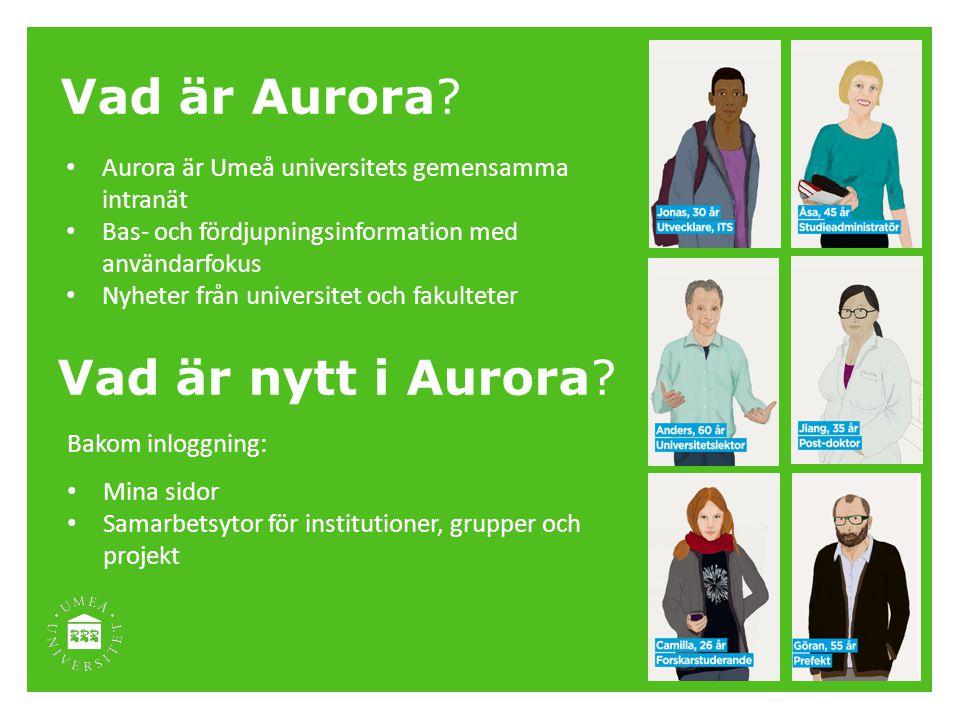 Vad är Aurora? Aurora är Umeå universitets gemensamma intranät Bas- och fördjupningsinformation med användarfokus Nyheter från universitet och fakulte