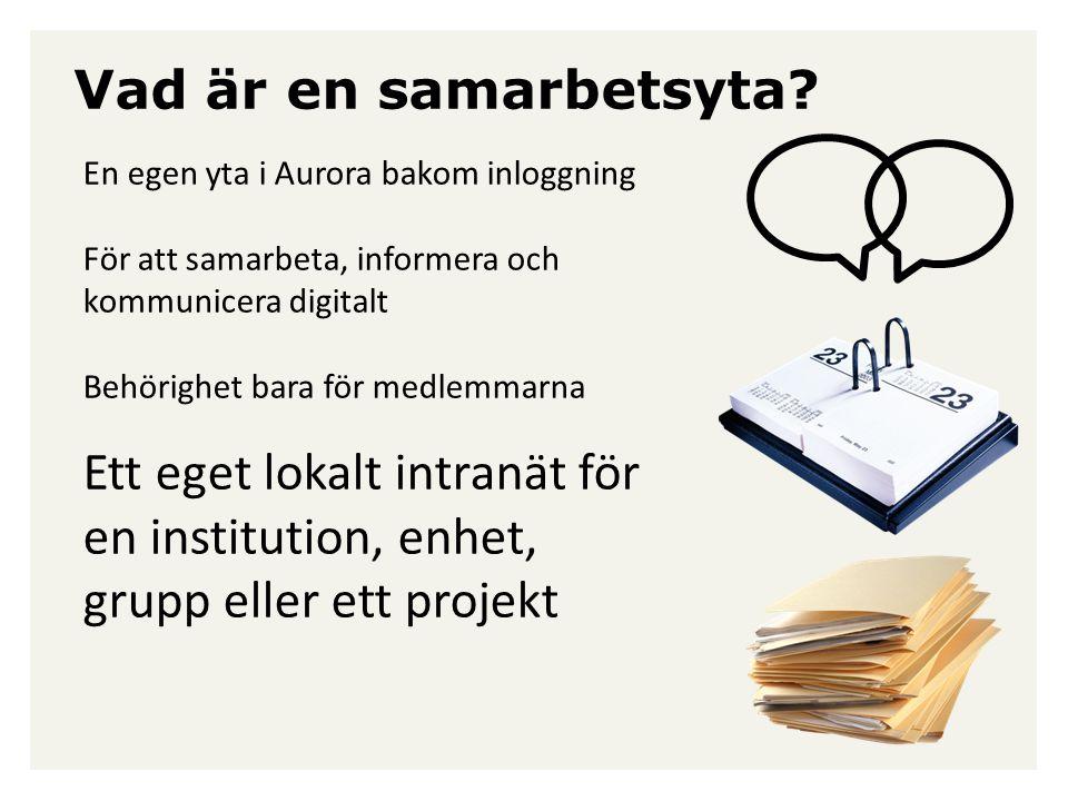 Vad är en samarbetsyta? En egen yta i Aurora bakom inloggning För att samarbeta, informera och kommunicera digitalt Behörighet bara för medlemmarna Et