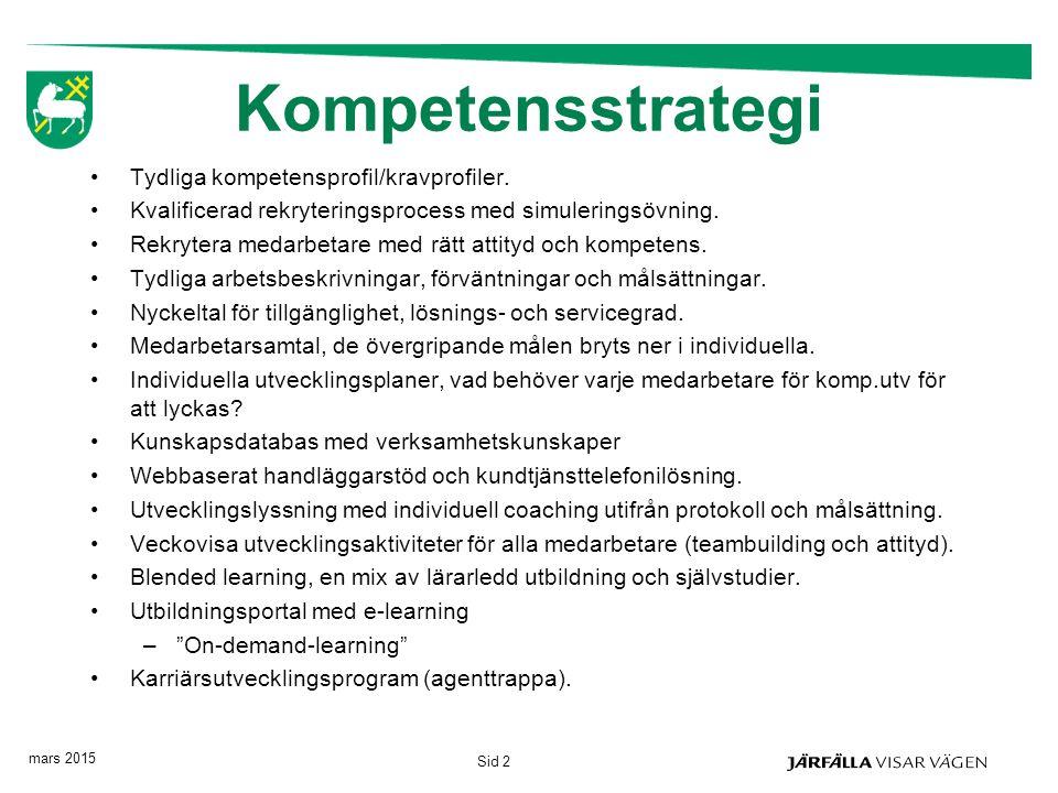 Kompetensstrategi Tydliga kompetensprofil/kravprofiler. Kvalificerad rekryteringsprocess med simuleringsövning. Rekrytera medarbetare med rätt attityd