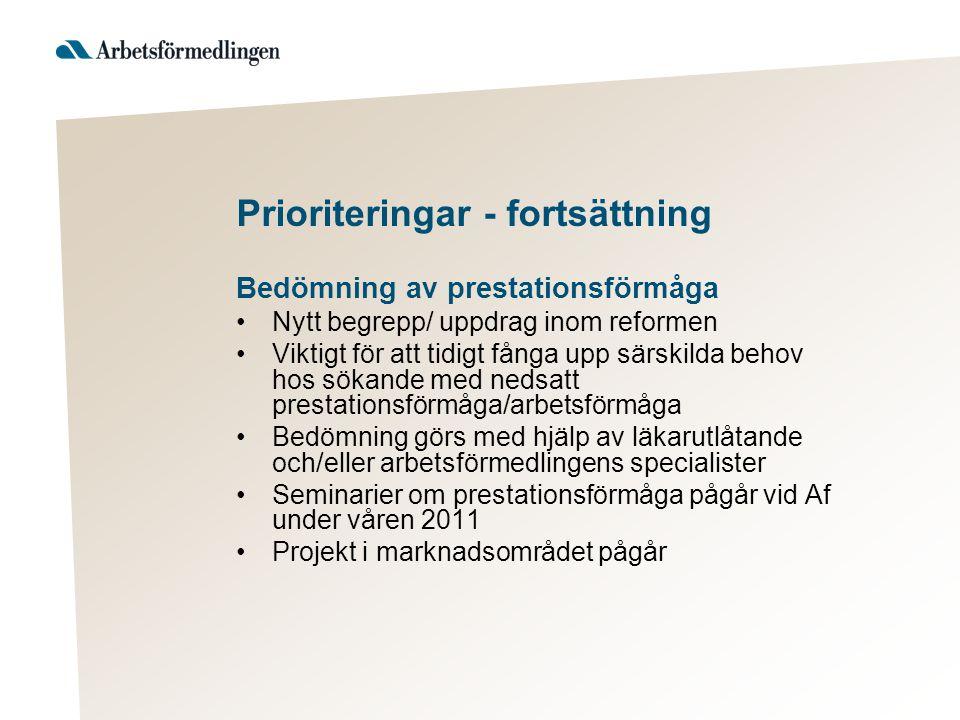 Prioriteringar - fortsättning Bedömning av prestationsförmåga Nytt begrepp/ uppdrag inom reformen Viktigt för att tidigt fånga upp särskilda behov hos sökande med nedsatt prestationsförmåga/arbetsförmåga Bedömning görs med hjälp av läkarutlåtande och/eller arbetsförmedlingens specialister Seminarier om prestationsförmåga pågår vid Af under våren 2011 Projekt i marknadsområdet pågår