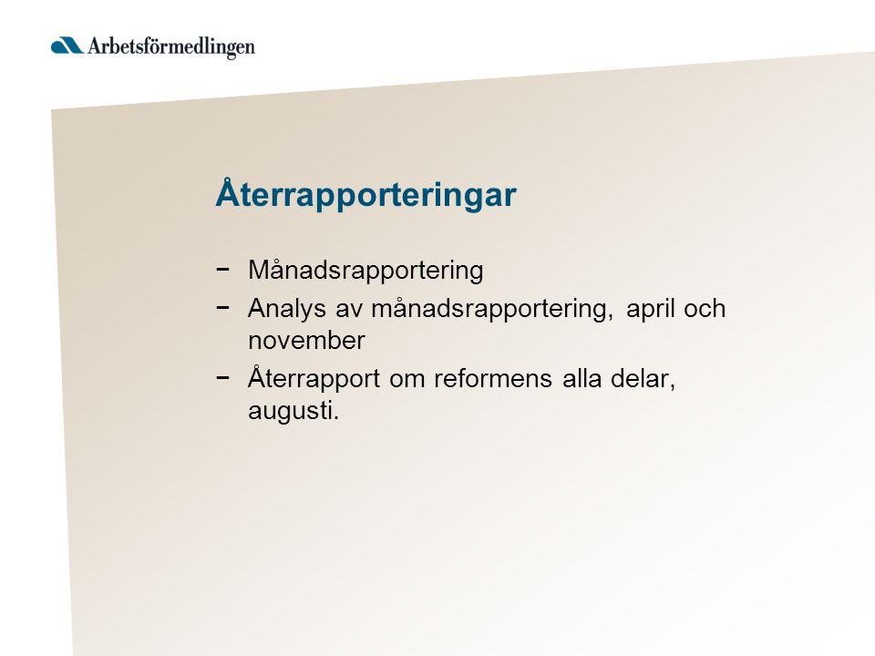Återrapporteringar −Månadsrapportering −Analys av månadsrapportering, april och november −Återrapport om reformens alla delar, augusti.