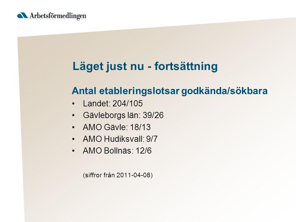 Läget just nu - fortsättning Antal etableringslotsar godkända/sökbara Landet: 204/105 Gävleborgs län: 39/26 AMO Gävle: 18/13 AMO Hudiksvall: 9/7 AMO Bollnäs: 12/6 (siffror från 2011-04-08)