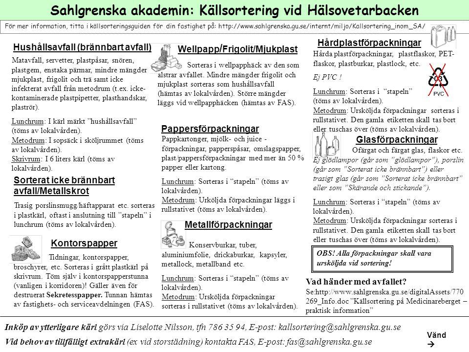 Sahlgrenska akademin: Källsortering vid Hälsovetarbacken För mer information, titta i källsorteringsguiden för din fastighet på: http://www.sahlgrensk