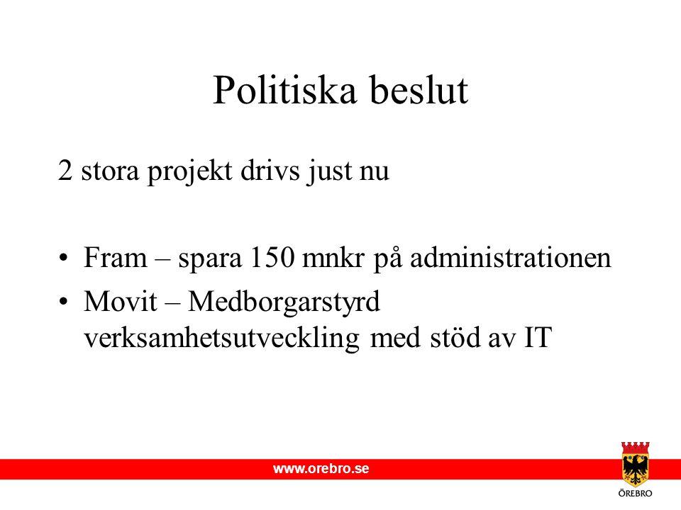 www.orebro.se Politiska beslut 2 stora projekt drivs just nu Fram – spara 150 mnkr på administrationen Movit – Medborgarstyrd verksamhetsutveckling me