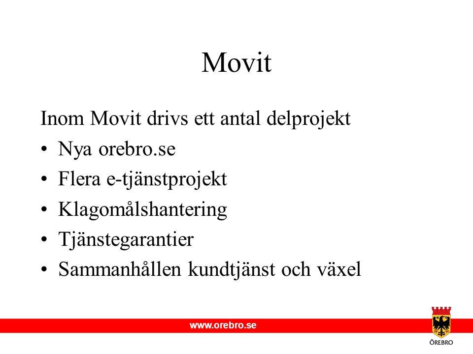 www.orebro.se Movit Inom Movit drivs ett antal delprojekt Nya orebro.se Flera e-tjänstprojekt Klagomålshantering Tjänstegarantier Sammanhållen kundtjä