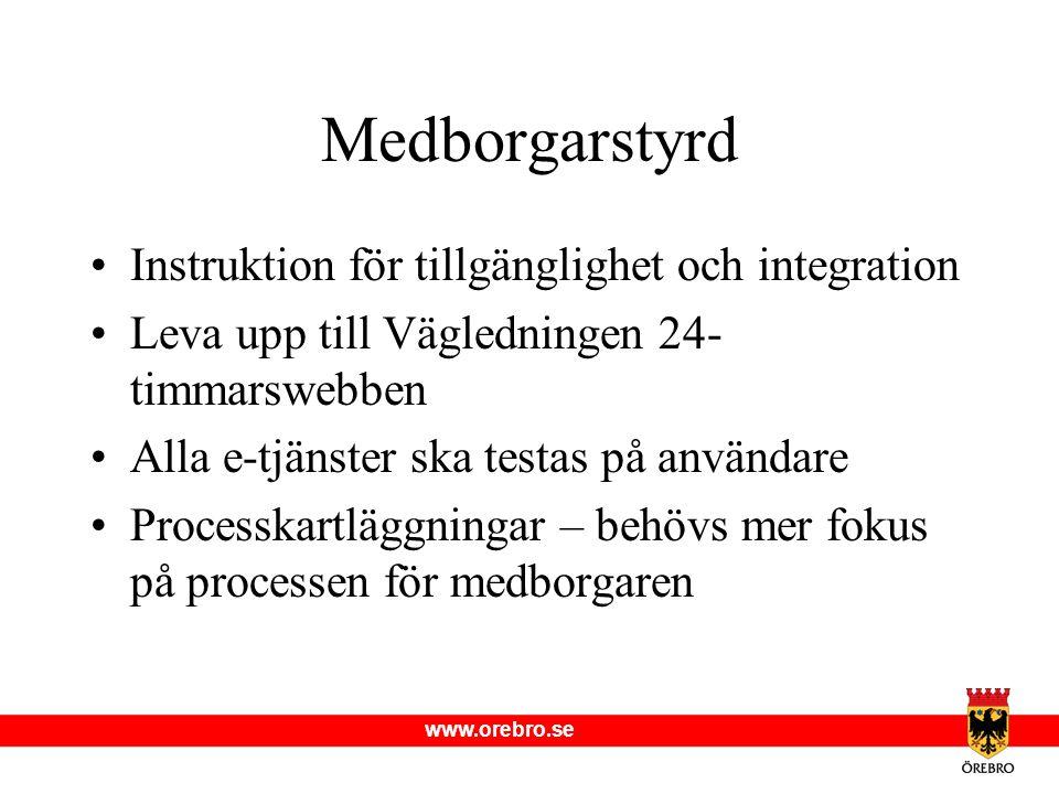 www.orebro.se Medborgarstyrd Instruktion för tillgänglighet och integration Leva upp till Vägledningen 24- timmarswebben Alla e-tjänster ska testas på