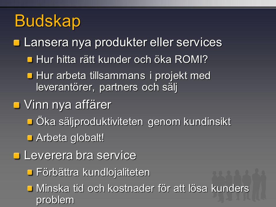 Budskap Lansera nya produkter eller services Hur hitta rätt kunder och öka ROMI? Hur arbeta tillsammans i projekt med leverantörer, partners och sälj