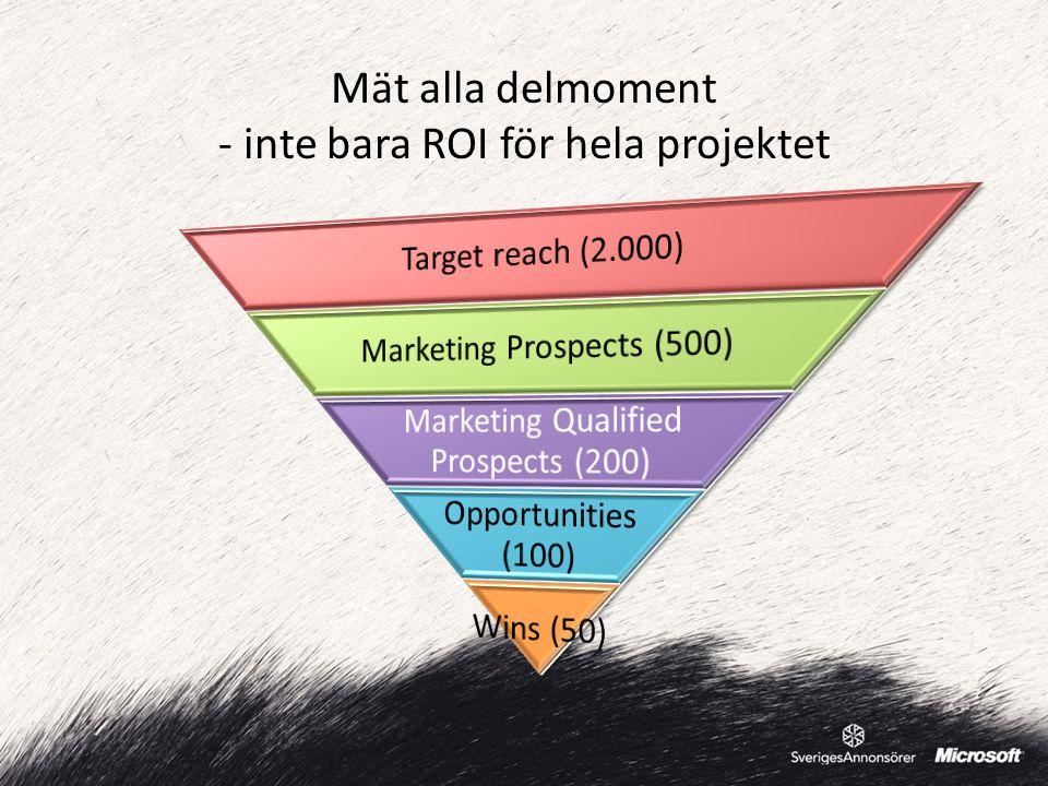 Mät alla delmoment - inte bara ROI för hela projektet