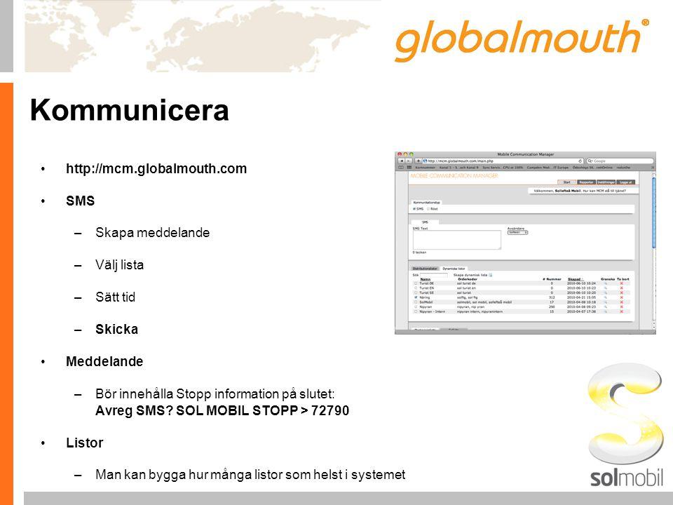Kommunicera http://mcm.globalmouth.com SMS –Skapa meddelande –Välj lista –Sätt tid –Skicka Meddelande –Bör innehålla Stopp information på slutet: Avreg SMS.