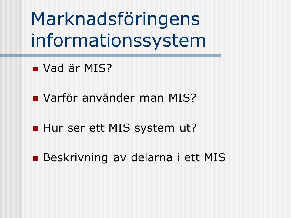 Marknadsföringens informationssystem Vad är MIS? Varför använder man MIS? Hur ser ett MIS system ut? Beskrivning av delarna i ett MIS