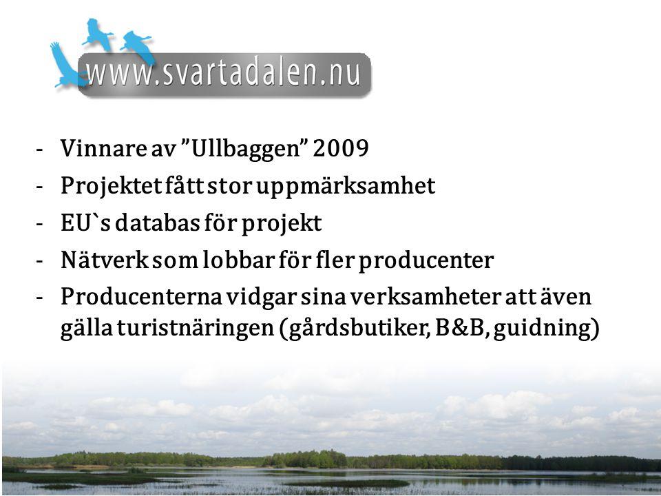 -Vinnare av Ullbaggen 2009 -Projektet fått stor uppmärksamhet -EU`s databas för projekt -Nätverk som lobbar för fler producenter -Producenterna vidgar sina verksamheter att även gälla turistnäringen (gårdsbutiker, B&B, guidning)