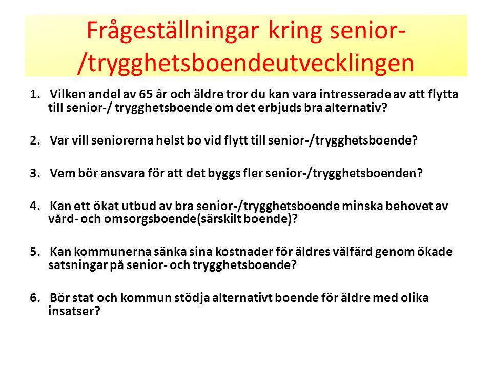 Frågeställningar kring senior- /trygghetsboendeutvecklingen 1. Vilken andel av 65 år och äldre tror du kan vara intresserade av att flytta till senior