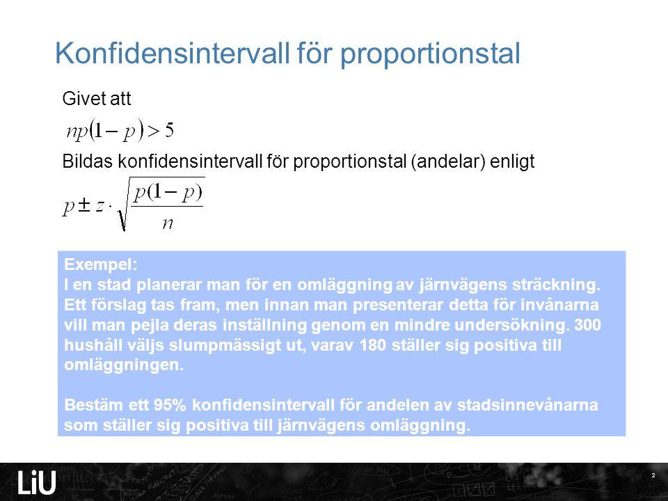 Konfidensintervall för proportionstal Givet att Bildas konfidensintervall för proportionstal (andelar) enligt 2 Exempel: I en stad planerar man för en