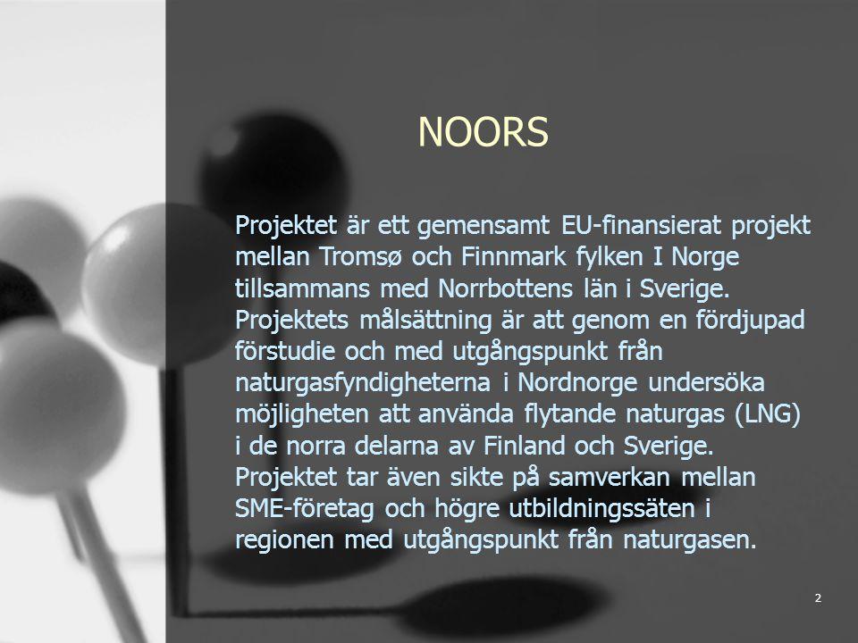 2 NOORS Projektet är ett gemensamt EU-finansierat projekt mellan Tromsø och Finnmark fylken I Norge tillsammans med Norrbottens län i Sverige.
