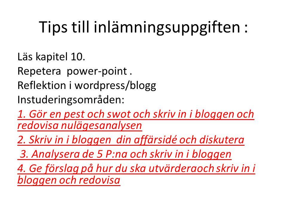 Tips till inlämningsuppgiften : Läs kapitel 10. Repetera power-point.