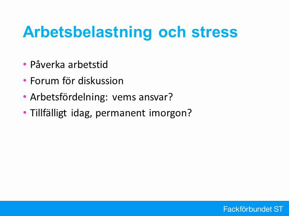Arbetsbelastning och stress Påverka arbetstid Forum för diskussion Arbetsfördelning: vems ansvar? Tillfälligt idag, permanent imorgon?