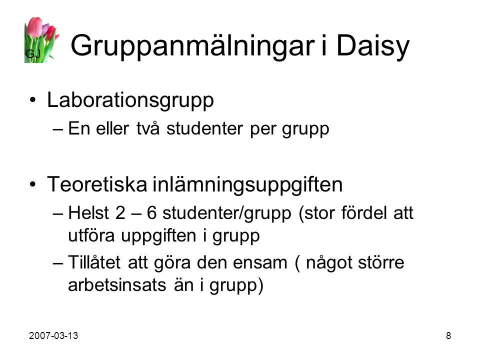 GJ 2007-03-138 Gruppanmälningar i Daisy Laborationsgrupp –En eller två studenter per grupp Teoretiska inlämningsuppgiften –Helst 2 – 6 studenter/grupp (stor fördel att utföra uppgiften i grupp –Tillåtet att göra den ensam ( något större arbetsinsats än i grupp)