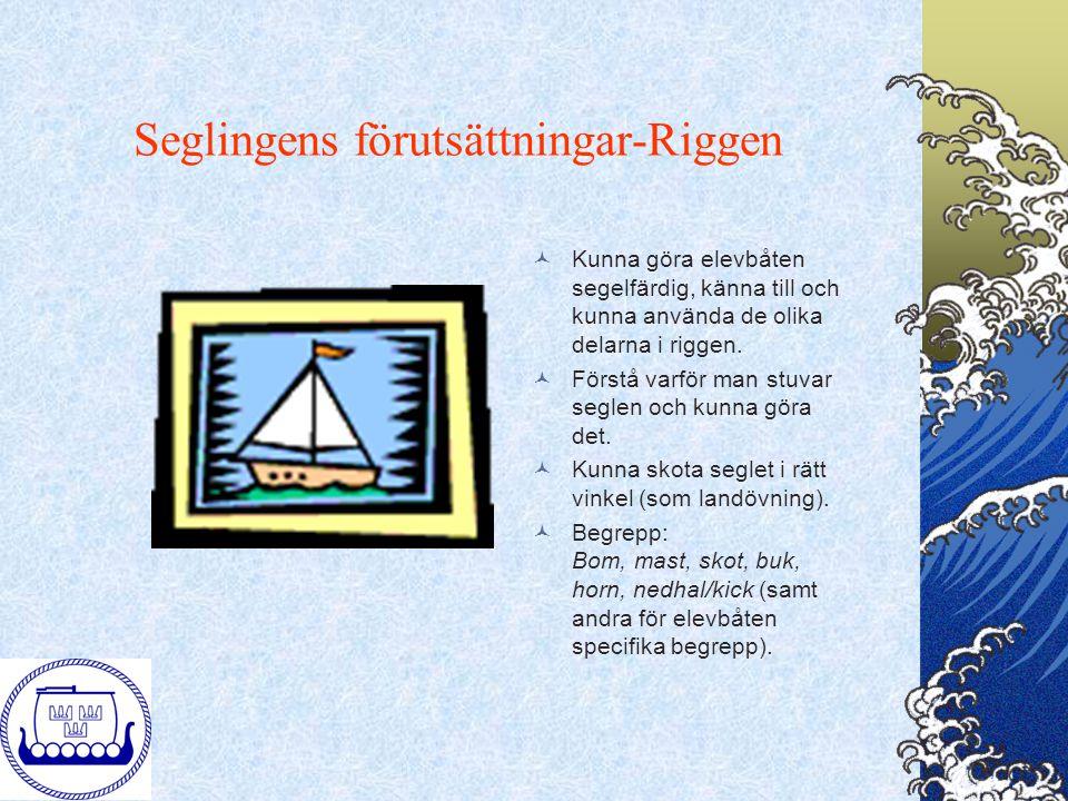 Seglingens förutsättningar-Riggen Kunna göra elevbåten segelfärdig, känna till och kunna använda de olika delarna i riggen. Förstå varför man stuvar s