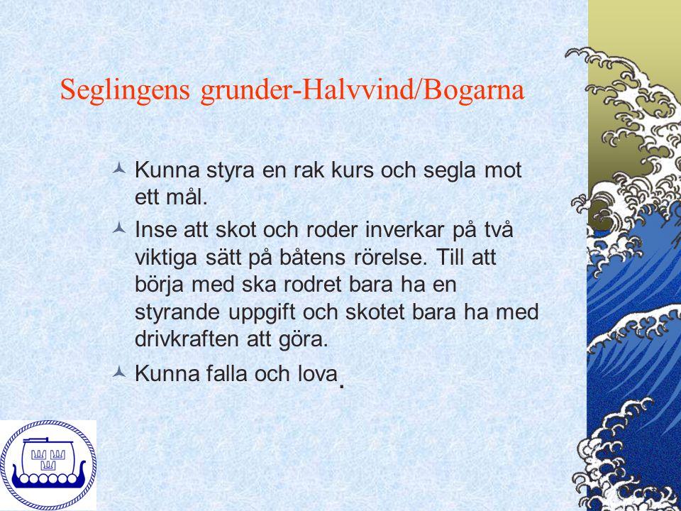 Seglingens grunder-Halvvind/Bogarna Kunna styra en rak kurs och segla mot ett mål. Inse att skot och roder inverkar på två viktiga sätt på båtens röre