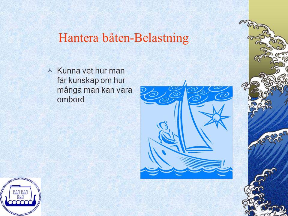 Hantera båten-Belastning Kunna vet hur man får kunskap om hur många man kan vara ombord.