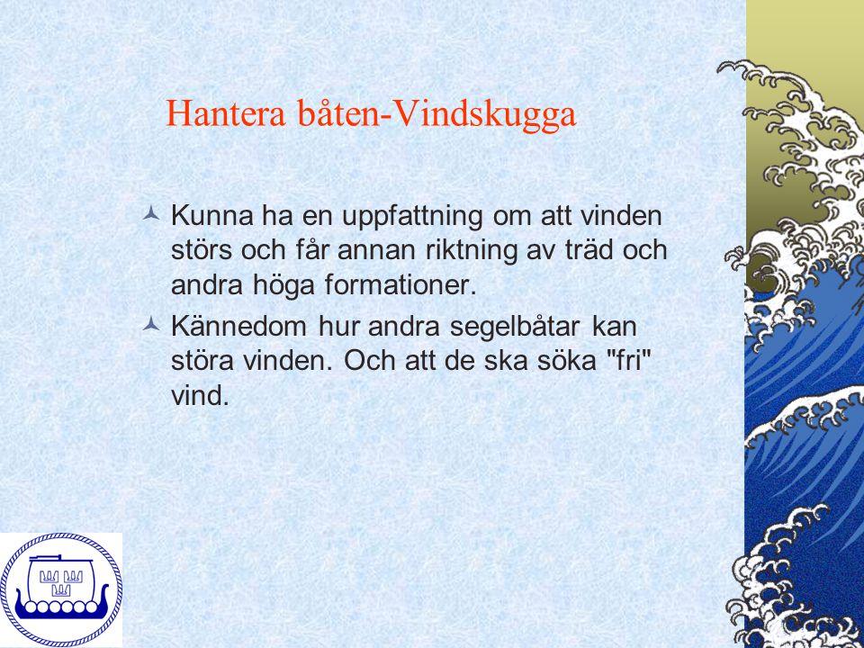 Hantera båten-Vindskugga Kunna ha en uppfattning om att vinden störs och får annan riktning av träd och andra höga formationer. Kännedom hur andra seg