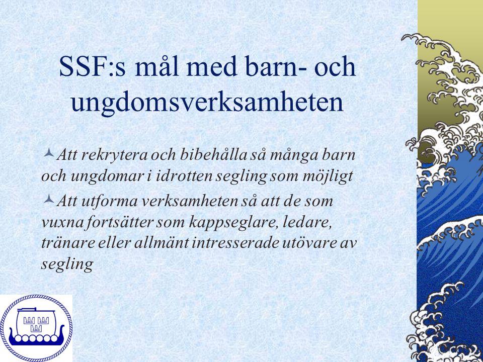 SSF:s mål med barn- och ungdomsverksamheten Att rekrytera och bibehålla så många barn och ungdomar i idrotten segling som möjligt Att utforma verksamh