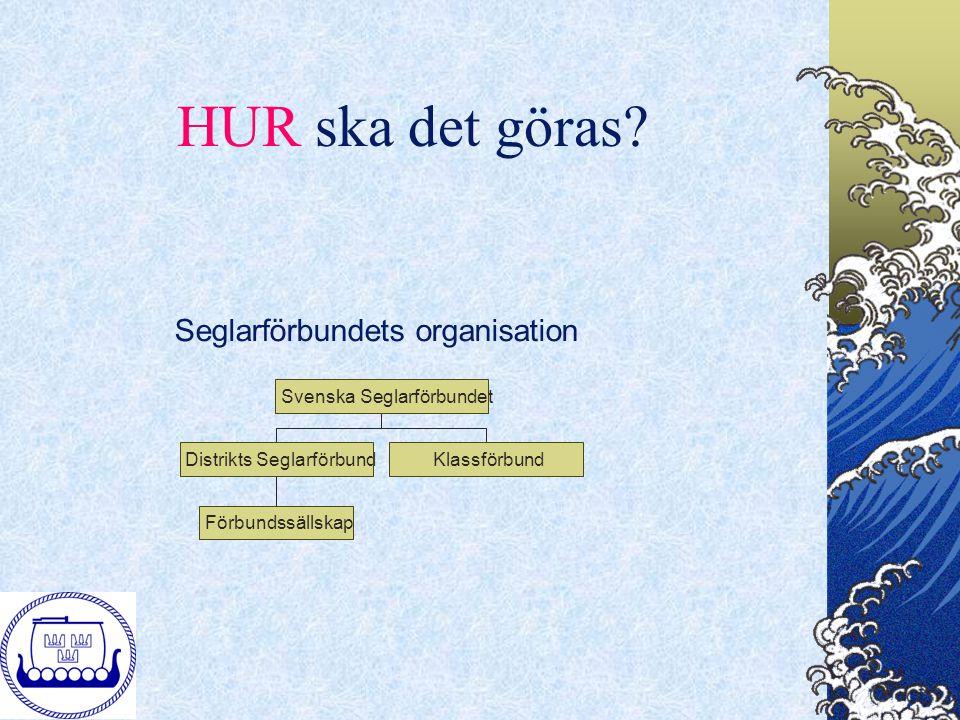 HUR ska det göras? Seglarförbundets organisation FörbundssällskapDistrikts SeglarförbundKlassförbundSvenska Seglarförbundet