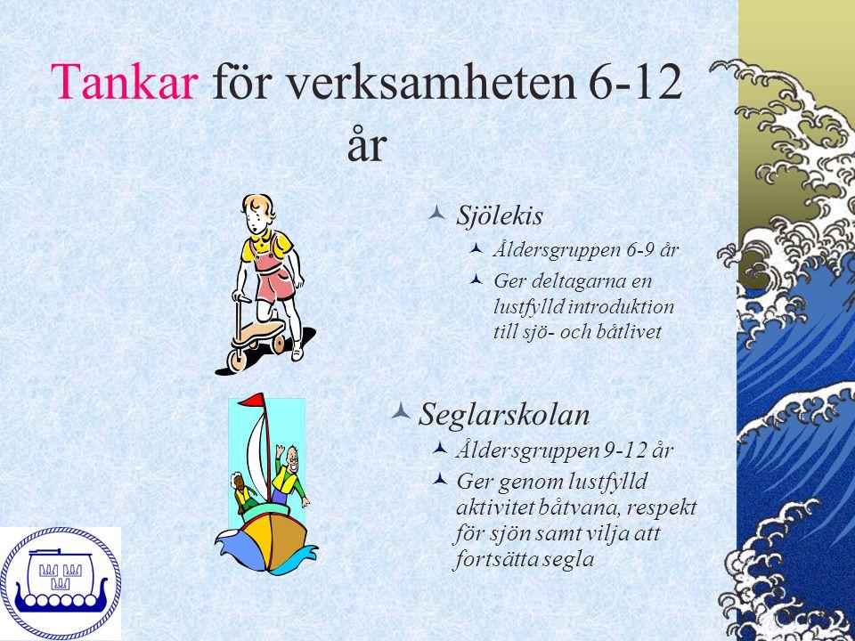 Tankar för verksamheten 6-12 år Sjölekis Åldersgruppen 6-9 år Ger deltagarna en lustfylld introduktion till sjö- och båtlivet Seglarskolan Åldersgrupp
