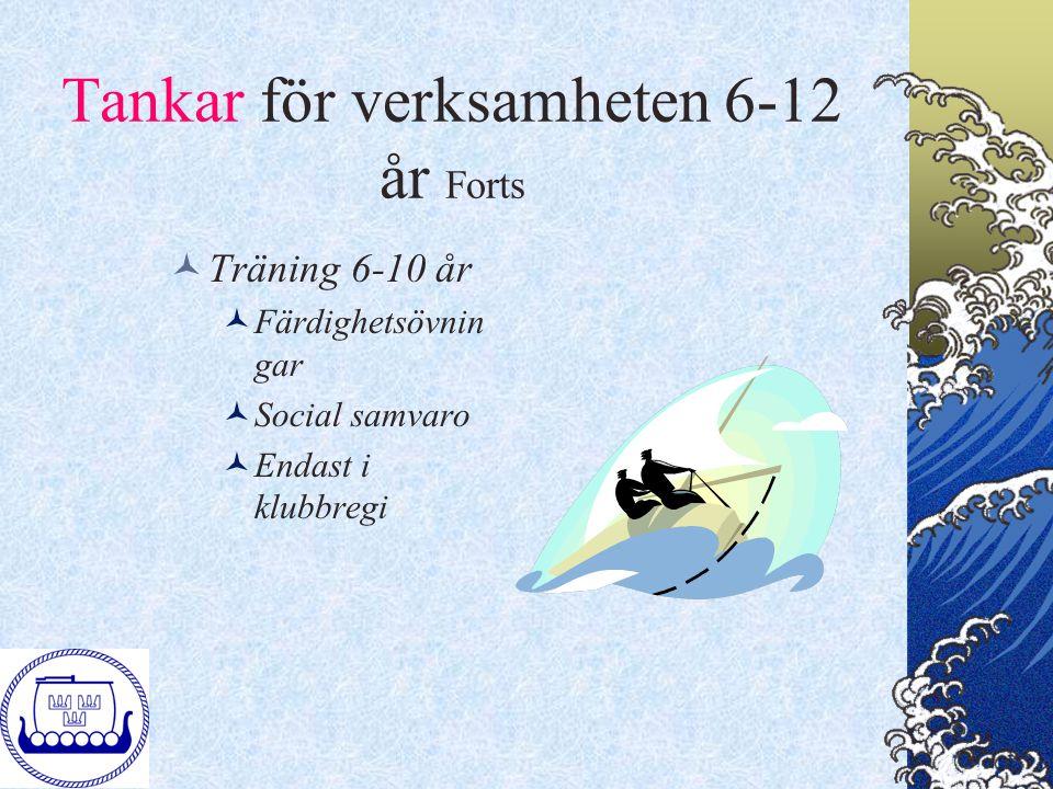 Tankar för verksamheten 6-12 år Forts Träning 6-10 år Färdighetsövnin gar Social samvaro Endast i klubbregi