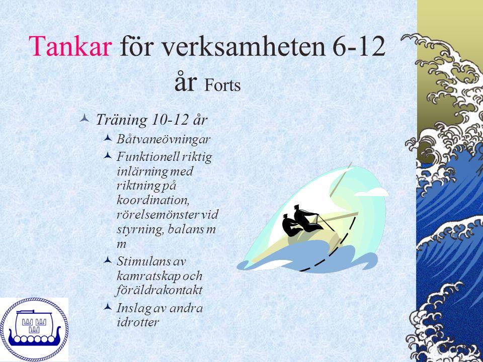 Tankar för verksamheten 6-12 år Forts Träning 10-12 år Båtvaneövningar Funktionell riktig inlärning med riktning på koordination, rörelsemönster vid s