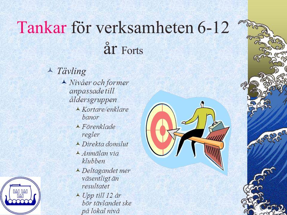 Tankar för verksamheten 6-12 år Forts Tävling Nivåer och former anpassade till åldersgruppen Kortare/enklare banor Förenklade regler Direkta domslut A