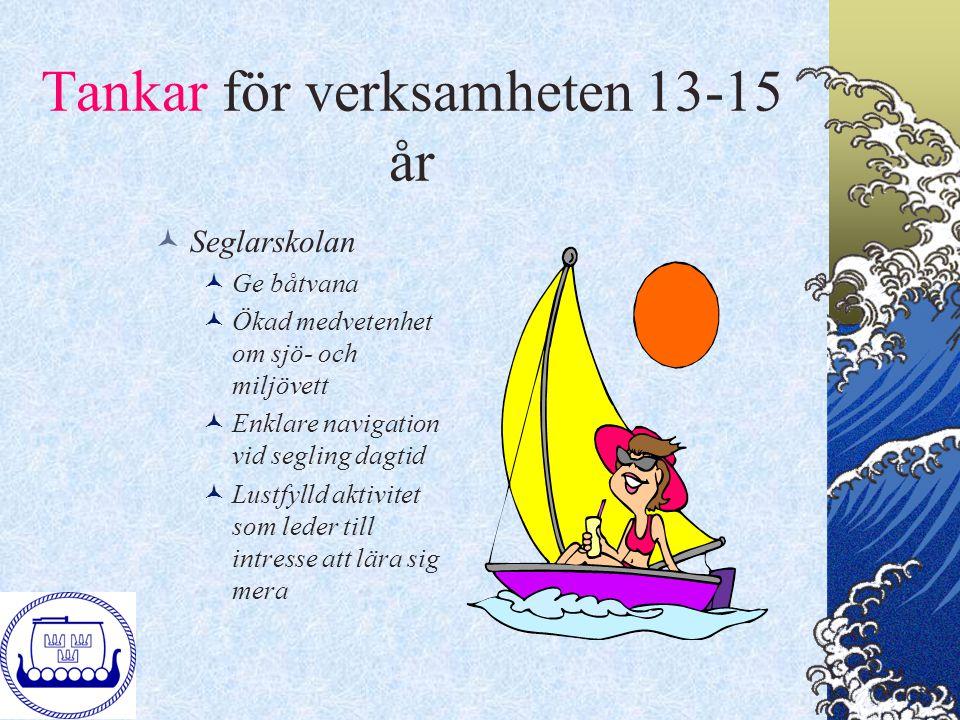 Tankar för verksamheten 13-15 år Seglarskolan Ge båtvana Ökad medvetenhet om sjö- och miljövett Enklare navigation vid segling dagtid Lustfylld aktivi