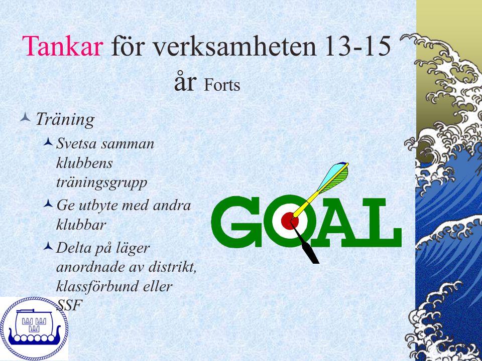 Tankar för verksamheten 13-15 år Forts Träning Svetsa samman klubbens träningsgrupp Ge utbyte med andra klubbar Delta på läger anordnade av distrikt,