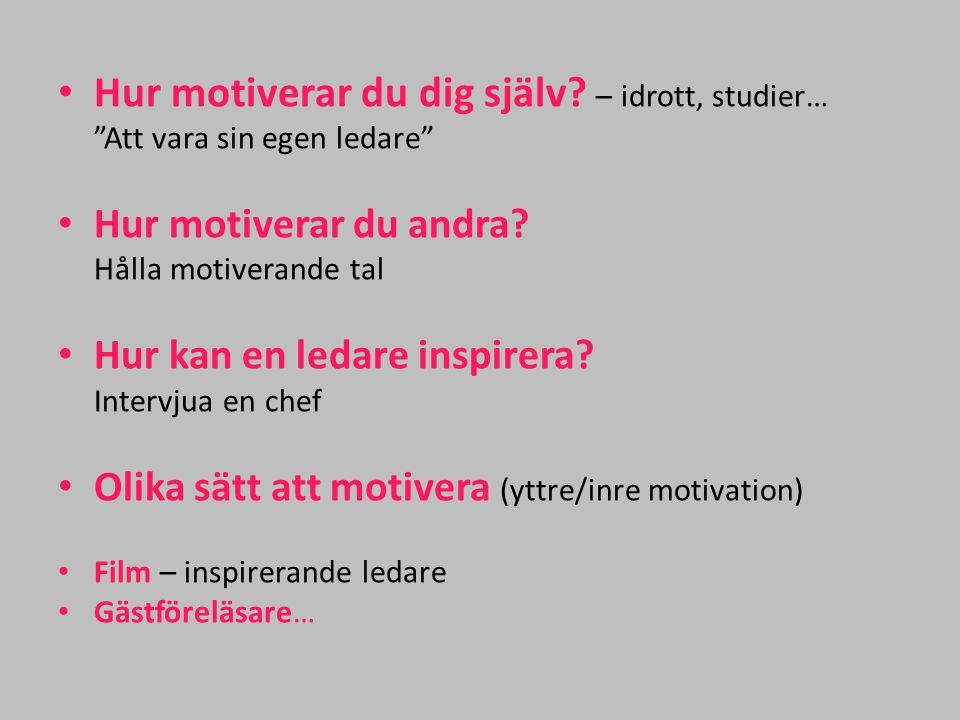 """Hur motiverar du dig själv? – idrott, studier… """"Att vara sin egen ledare"""" Hur motiverar du andra? Hålla motiverande tal Hur kan en ledare inspirera? I"""