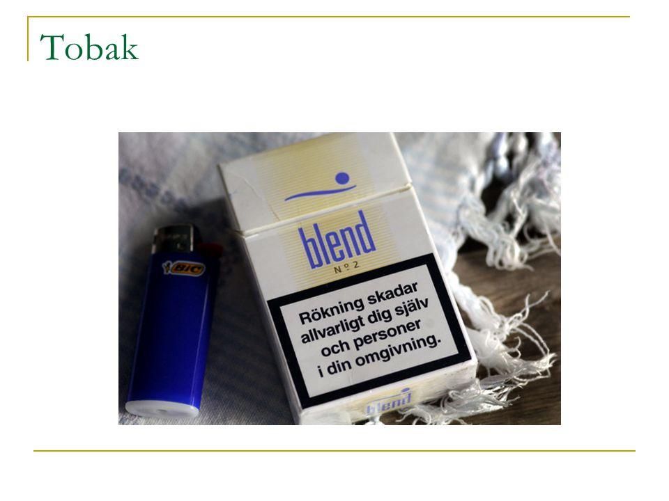 Tjära Ämne Koncentration i tobaksrök Hygieniskt gränsvärde (ppm) Koloxid42 00035 Kolväten108 0001 300 Formaldehyd301 Acetaldehyd3 20050 Akrolein1500,1 Ammoniak30025 Kvävedioxid250 5 Svavelväte4010 Cyanväte1 60010