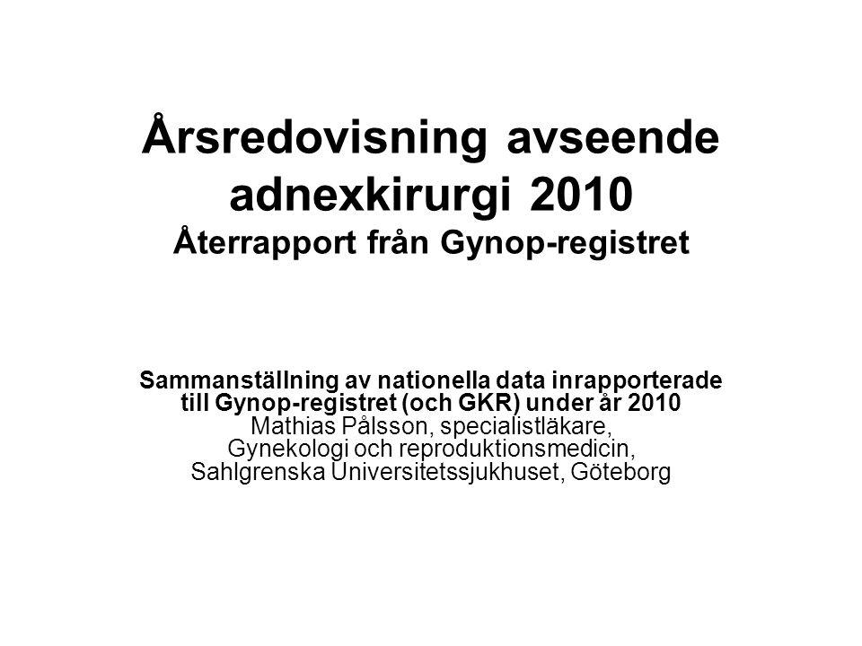 Årsredovisning avseende adnexkirurgi 2010 Återrapport från Gynop-registret Sammanställning av nationella data inrapporterade till Gynop-registret (och