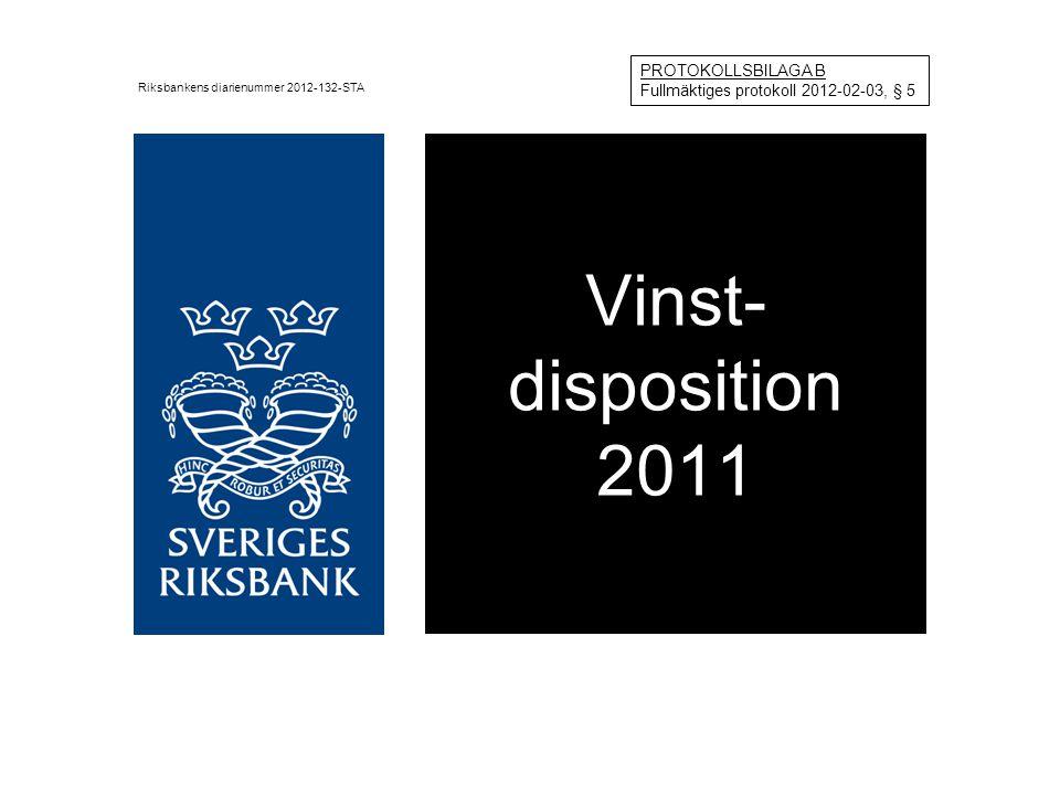 Vinst- disposition 2011 Riksbankens diarienummer 2012-132-STA PROTOKOLLSBILAGA B Fullmäktiges protokoll 2012-02-03, § 5