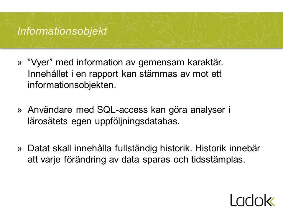 """»""""Vyer"""" med information av gemensam karaktär. Innehållet i en rapport kan stämmas av mot ett informationsobjekten. »Användare med SQL-access kan göra"""
