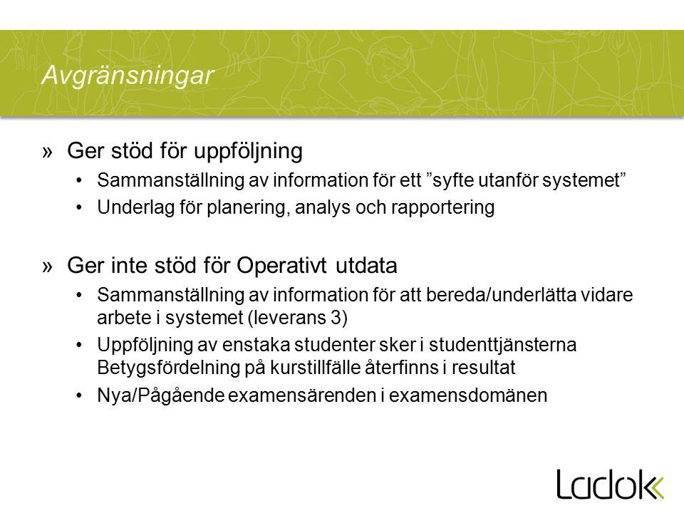 """Avgränsningar »Ger stöd för uppföljning Sammanställning av information för ett """"syfte utanför systemet"""" Underlag för planering, analys och rapporterin"""