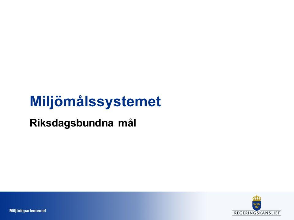 Miljödepartementet Miljömålssystemet Riksdagsbundna mål