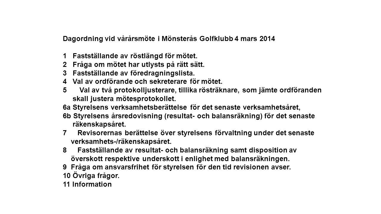 Dagordning vid vårårsmöte i Mönsterås Golfklubb 4 mars 2014 1 Fastställande av röstlängd för mötet.