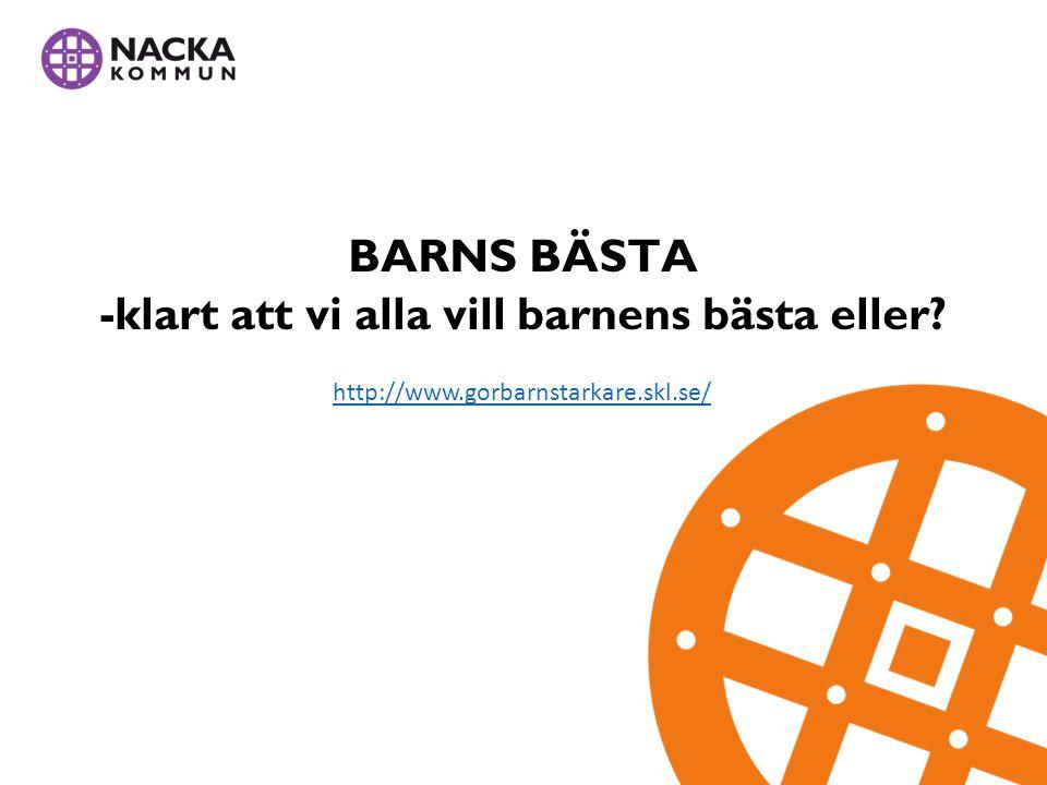 BARNS BÄSTA -klart att vi alla vill barnens bästa eller http://www.gorbarnstarkare.skl.se/