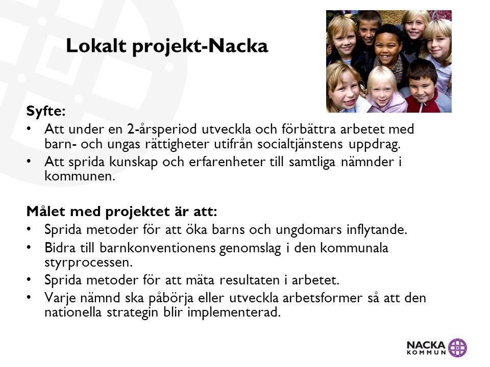 Lokalt projekt-Nacka Syfte: Att under en 2-årsperiod utveckla och förbättra arbetet med barn- och ungas rättigheter utifrån socialtjänstens uppdrag.
