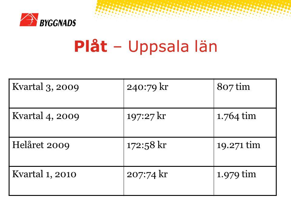 Plåt – Uppsala län Kvartal 3, 2009240:79 kr807 tim Kvartal 4, 2009197:27 kr1.764 tim Helåret 2009172:58 kr19.271 tim Kvartal 1, 2010207:74 kr1.979 tim